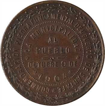 Argentine, Santa Fé, pose de la première pierre du port, 1904