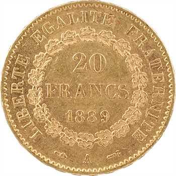 IIIe République, 20 francs Génie, 1889 Paris