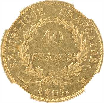 Premier Empire, 40 francs type transitoire, 1807 Toulouse, NGC AU55