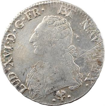 Louis XVI, écu aux branches d'olivier, 1780 Bayonne