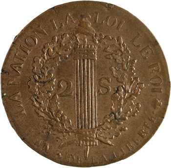 Constitution, 2 sols FRANÇOIS, An 3, 1791 Rouen