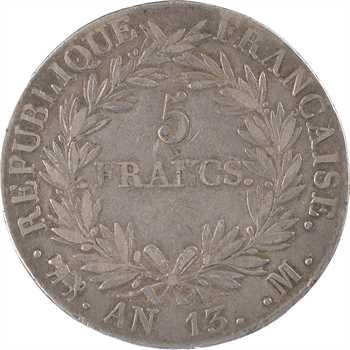 Premier Empire, 5 francs tête nue, calendrier révolutionnaire, An 13 Toulouse