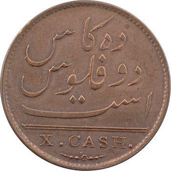 Réunion et Maurice (îles), Georges III, X cash, 1808 Madras