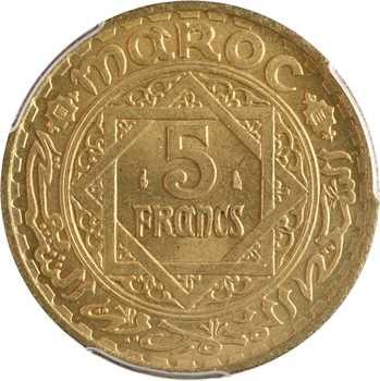 Maroc, Mohammed V, 5 francs, AH 1365 (1946) Paris, PCGS MS66