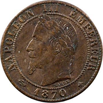 Second Empire, un centime tête laurée, 1870 Paris