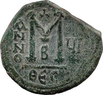 Héraclius et Héraclius Constantin, follis, Thessalonique, 2e officine, An VI = 615-616