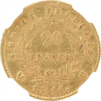 Premier Empire, 20 francs Empire, 1811 Turin, NGC AU58