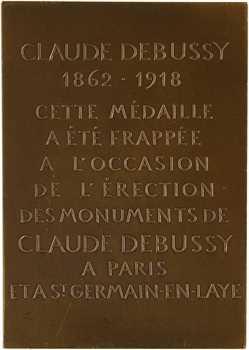 Turin (P.) : érection des monuments à Claude Debussy à Paris et Saint-Germain-en-Laye, s.d. (1932) Paris