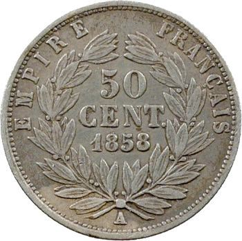 Second Empire, 50 centimes tête nue, 1858 Paris