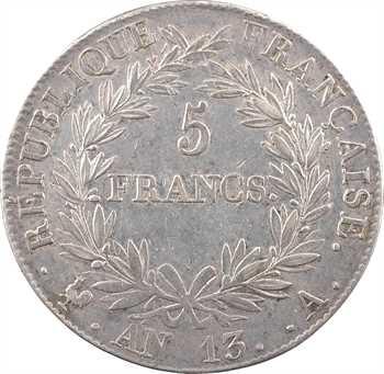 Premier Empire, 5 francs tête nue, calendrier révolutionnaire, An 13 Paris