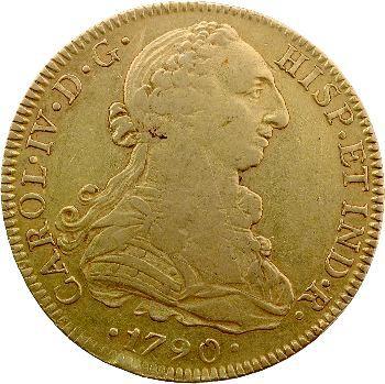 Espagne, Charles IV, 8 escudos, 1790 Mexico