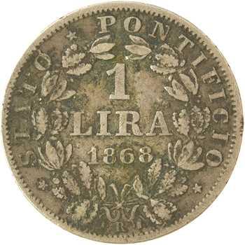 Vatican, Pie IX, 1 lire, 1868/XXIII Rome