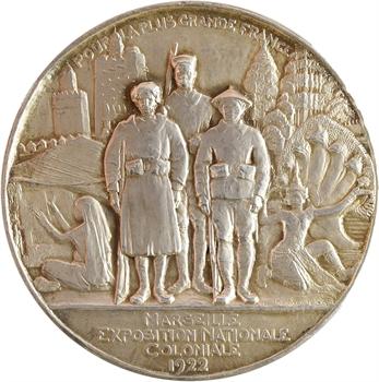IIIe République, Exposition coloniale de Marseille, par Bouchard, en argent, 1922 Paris