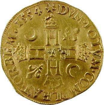 Henri II, double henri d'or 1er type, 1554 Bourges