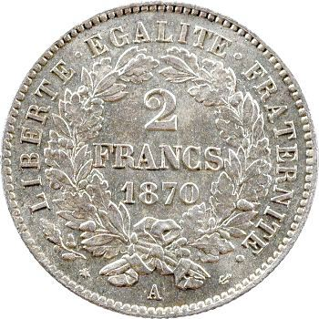 Gvt de Défense nationale, 2 francs, 1870 Paris
