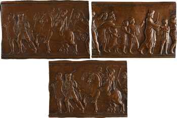XIXe s., lot de 3 fontes unifaces de style antique, s.d