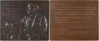 Paulin (P.) : Pierre Henri Rémon à son bureau, jubilé professionnel (1873-1923) paire d'électrotypes, [décembre] 1923