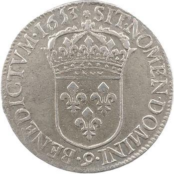Louis XIV, écu à la mèche longue, 1653 Rennes