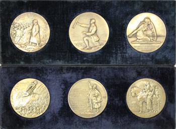 Ire Guerre mondiale, lot de 6 médailles, Pétain, Castelnau, Gouraud, Clémenceau, Joffre, bataille de la Marne