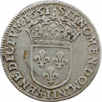 Louis XIV, quart d'écu à la mèche longue, 1651 Limoges