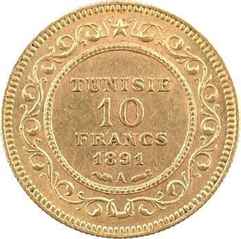Tunisie (Protectorat français), Ali, Bey, 10 francs, AH 1308 (1891) Paris