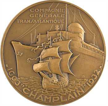 Delamarre (R.) : Compagnie Générale Transatlantique, paquebot Champlain, dans sa boîte, 1932 Paris