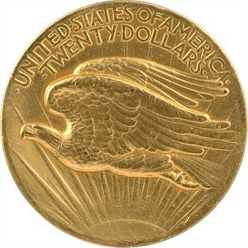 États-Unis, 20 dollars hauts reliefs, chiffres romains et listels plats (flat rim), MCMVII (1907) Philadelphie