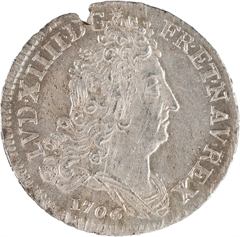 Louis XIV, pièce de dix sols aux insignes, 1706 Paris