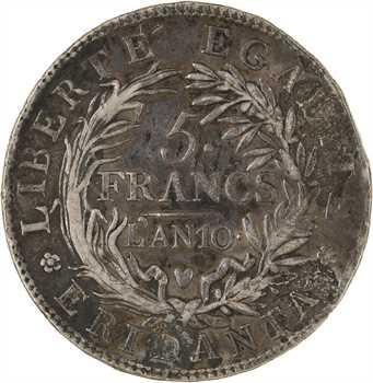 Italie, Gaule subalpine, 5 francs, An 10 Turin