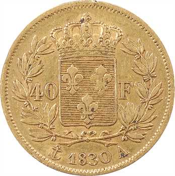 Charles X, 40 francs 2e type, 1830 Paris
