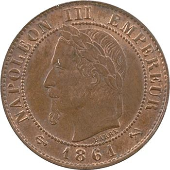 Second Empire, un centime tête laurée, 1861 Bordeaux