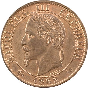 Second Empire, cinq centimes tête laurée, 1862 Bordeaux