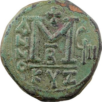 Justin II et Sophie, follis, Cyzique, 2e officine, An VIII = 572-573