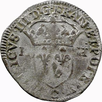Henri III, douzain aux 2 H 1er type, 1588 Saint-Lô