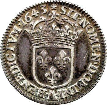 Louis XIII, douzième d'écu d'argent, 3e type (2e poinçon), 1643 Paris