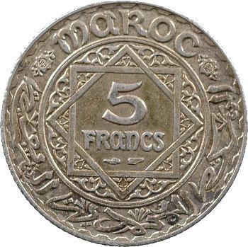 Maroc, Mohammed V, 5 francs, 1352 Paris