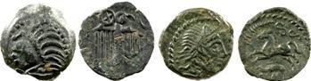 lot de 4 ex. : Séquanes, denier, Carnutes, Aulerques et Bellovaques, bronze