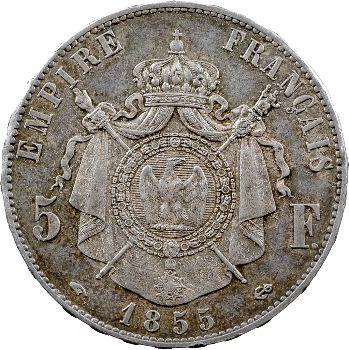 Second Empire, 5 francs tête nue, 1855 Paris
