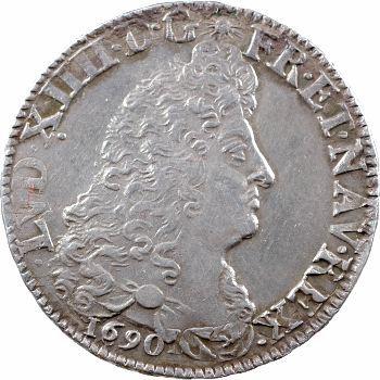 Louis XIV, demi-écu aux huit L, 1er type, 1690 Lille