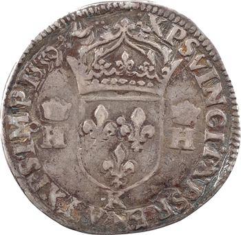 François II (au nom d'Henri II), teston à la tête nue 3e type, 1559 Bordeaux