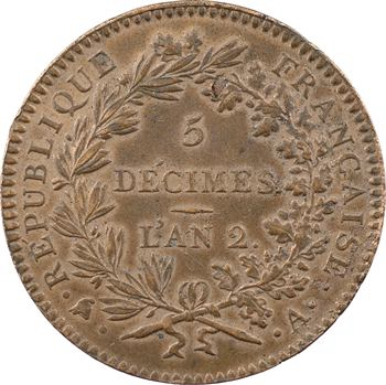 Convention, 5 décimes régénération, An 2, 1793 Paris