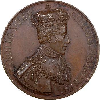 Charles X, médaille du sacre à Reims, module 68 mm, 1825 Paris