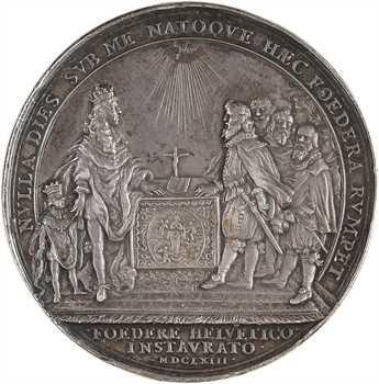 Louis XIV, alliance avec les Suisses, par Jean Warin, 1663 Paris