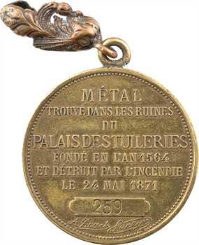 IIIe République, métal du Palais des Tuileries, souvenir par J. France, c.1883 Paris (petit module)