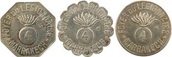 Maroc, Marrakech, lot de 3 monnaies du Foyer du légionnaire, 0,25, 0,5 et 1 [franc], s.d