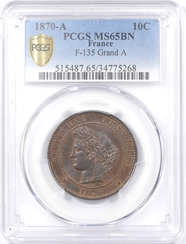 Gvt de Défense nationale, 10 centimes Cérès, 1870 Paris, PCGS MS65BN