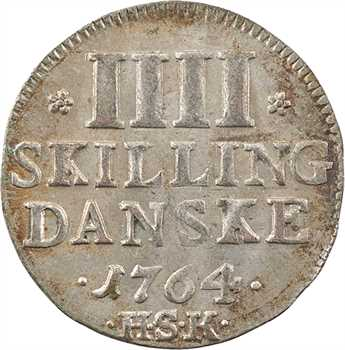 Danemark (royaume de), Frédéric V, 4 skilling, 1764 Copenhague