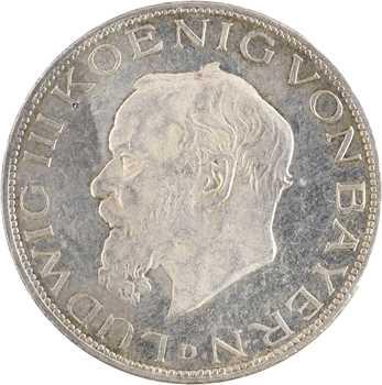 Allemagne, Bavière (royaume de), Louis III, 5 mark, 1914 Munich PROOFLIKE