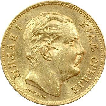 Yougoslavie, Serbie (royaume de), Milan Ier, 20 dinara, 1882 Vienne