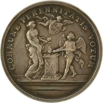 Louis XV/Constitution, second mariage du Dauphin avec Marie-Josèphe de Pologne, détournée en médaille de mariage, 1747 (1793) Paris